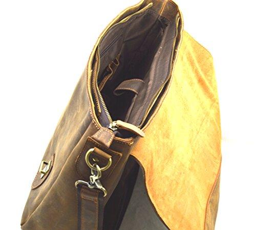Retro Leder Aktentasche 70 er Style echt Leder Schultertasche