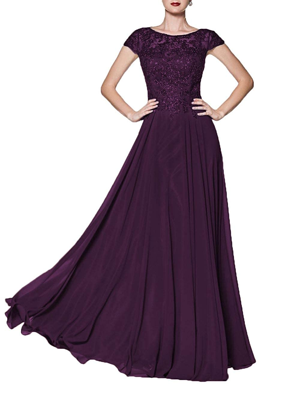 Dark Purple Wanshaqin Women's Illusion Neckline Jeweled Waist Long Evening Gown Prom Formal Dress Bridesmaid Gown