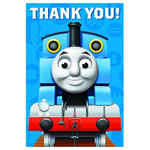 Amscan Adorable Thomas the Tank Engine Birthday Party Thank You Notes Cards, Blue, 4 1/4
