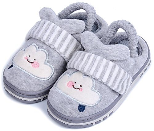 UIESUN Unisex Star Toddler Kids Slippers for Boys and Girls Grey 18/19