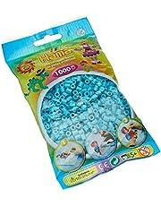 Hama Perlen 207-49 strijkkralen zak met ca. 1.000 midi knutselkralen met een diameter van 5 mm in azuurblauw, creatief knutselplezier voor groot en klein