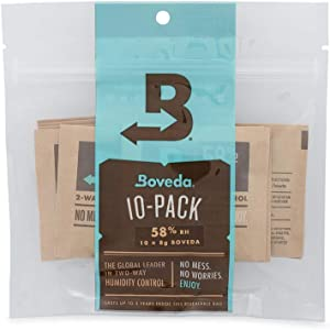 Boveda for Herbal Storage | 58% RH 2-Way Humidity Control | Size 8 Protects Up to 1 Ounce (30 Grams) Flower | Prevent Terpene Loss Over Drying and Molding | 10-Count Resealable Bag