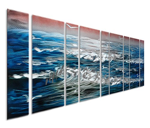 Pure Art Blue Sea Ocean Waves - Oversized Nautical Beach Metal Wall Art Painting - Contemporary Decor Artwork Set of 9 Tropical Panels in Red, Silver and White - 86