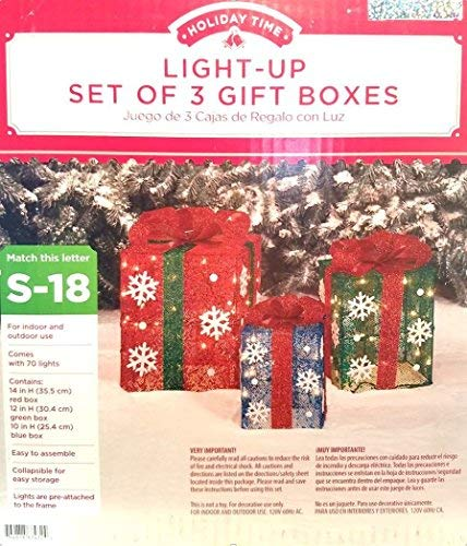 Amazon.com: Light Up Gift Boxes, Set of 3 Outdoor Christmas Decorations. 14, 12, and 10 Boxes with Ribbon and Snowflakes. 70 lights attached to frame.
