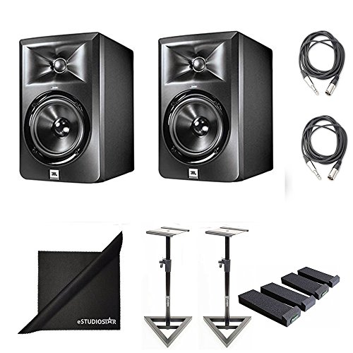 JBL LSR305 Studio Monitor Pair With Auralex MOPAD Isolation Pads, Monitor Stand Pair & XLR Cables (LSR305)