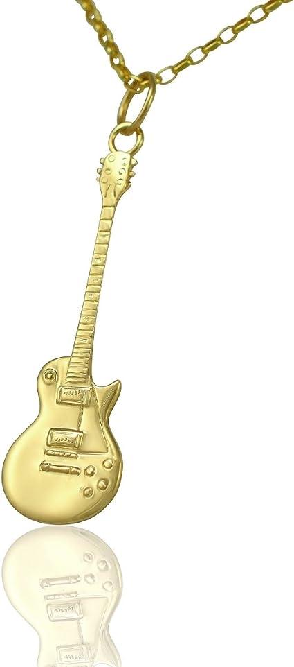 Colgante y collar de guitarra eléctrica Gibson Les Paul, oro ...