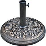 "LCH 18"" 19 lbs Patio Umbrella Base Stand Holder, Rust Free Resin, Antiqued Bronze Finish"
