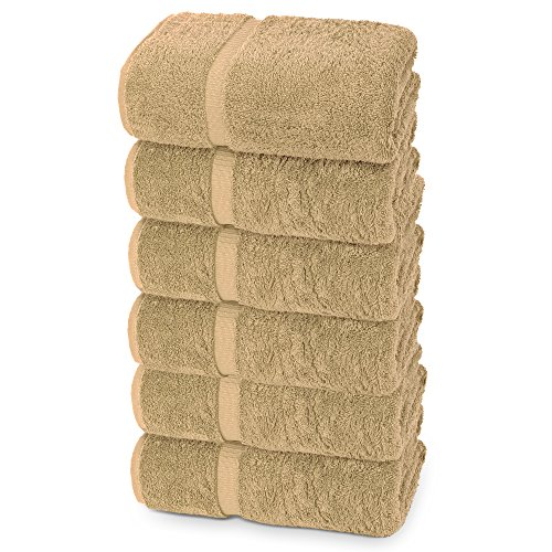 Indulge Linen Extra Soft Hand Towels, Set of 6, 100% Turkish Cotton, Beach Sand - 27' Sand