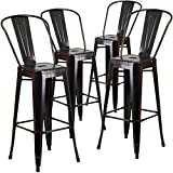Tall Bar Stools with Backs Flash Furniture 4 Pk. 30'' High Black-Antique Gold Metal Indoor-Outdoor Barstool with Back