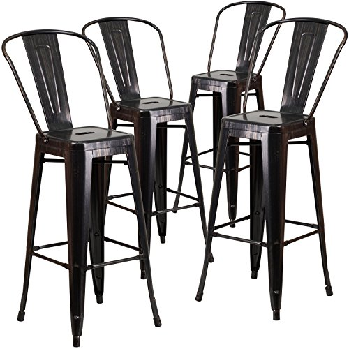 Flash Furniture 4 Pk. 30'' High Black-Antique Gold Metal Indoor-Outdoor Barstool with ()