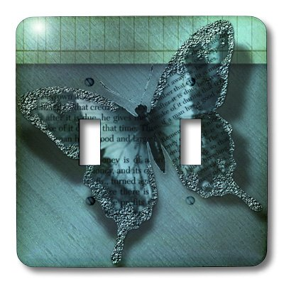 3dRose LSP/_56218/_2 Inspirational Aqua Butterfly-Nature Art Double Toggle Switch Not applicble
