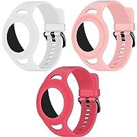 Coholl 3 stuks siliconen airtag armband voor Apple AirTag,rugzakken, voor kinderen of volwassenen, armband voor GPS…