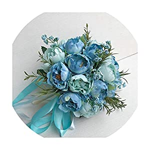 foosheeonzi Wedding Bouquet Bride Holding Bouquet Artificial Silk Peony Flowers DIY Home Party Decorations Table Ornaments,Blue 7