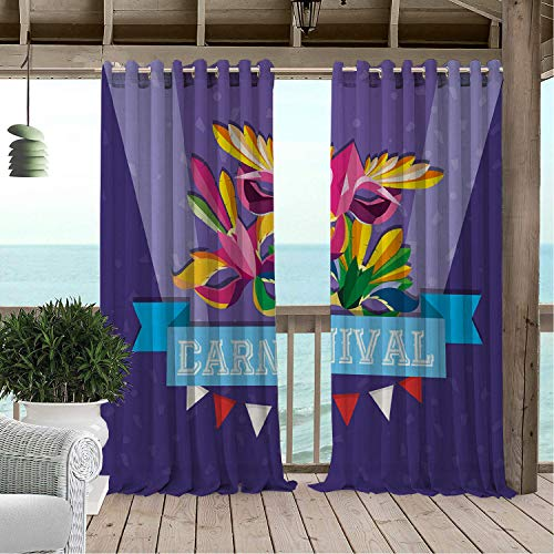 Linhomedecor Patio Waterproof Curtain Mardi Gras Celebration Fun Carnival Calligraphy Colorful Feathered Masks Classic Print Multicolor doorways Grommet Bathroom Curtains 84 by 72 inch ()