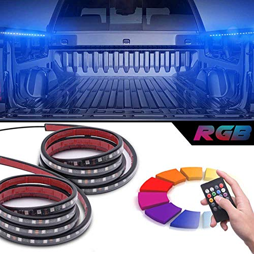 MICTUNING 2Pcs 60 Inch Smart RGB LED Truck Bed Lights with Sound-Activated Function, Wireless Remote, On Off Switch for Pickup SUV RV and More (Truck Light Accessories)