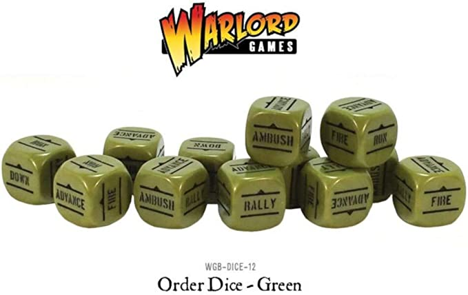 Warlord Games WLWGB-DICE-13 Green Pack of 12 Bolt Action Orders Dice: Amazon.es: Juguetes y juegos
