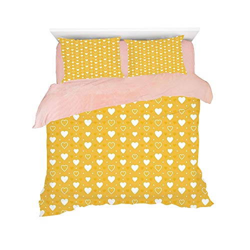 Flannel Duvet Cover Set 4-Piece Suit Warm Bedding Sets Quilt Cover for bed width 5ft Pattern Customized bedding for girls and young children,Yellow Decor,Full and Empty Heart Shapes with Little -