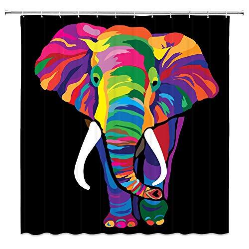 BBfishshowers Elephant Shower Curtain, Cartoon Theme Shower Curtains for Bathroom 12 Hooks 65x72 Inch ()