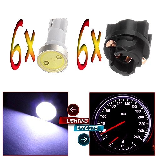 CCIYU 6x White Instrument Panel Dash light COB LED Light Bulbs With PC74 T5 74 Sockets 207 286 306 For 2002 Honda Accord 2.3L 3.0L 2002 -2004 Dodge Dakota 5.9L 4.7L 3.9L 2.5L Caravan 3.3L - 2002 Corvette Chevrolet 02