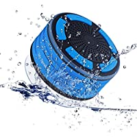 Shower Radio,IPX7 portable fully Waterproof Bluetooth Speaker with built in FM Radio and LED mood lights. Rechargeable using micro USB(Blue and Black)