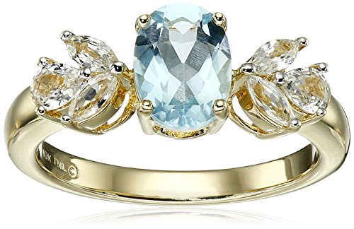 10k Yellow Gold Aquamarine and White Sapphire Ring, Size 7 (Floral Ring Sapphire Inspired)