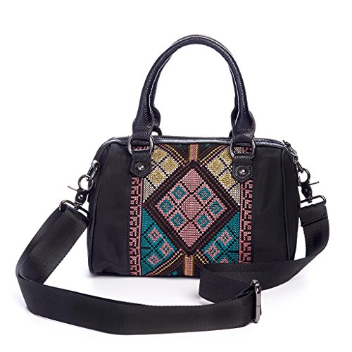 National Portable Women Messenger Wind Fashion Black Oxford Embroidered Cjh Bag Cloth dHqXwxOO