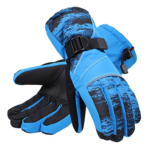 Andorra Men's Abstract Deluxe Touchscreen Sport Ski Glove,Electric Blue (Blue Streak Gloves)