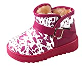 Cattior Toddler Little Kid Buckle Warm Winter Snow Boots Kids Leather Boots (10 M, Rose red)