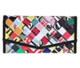 Large snap envelop shape wallet using advertising billboard. Cut into strips and woven tightly.  Features: - A clear zip pocket for coins to allow easy coin searching.  - 12 slots for cards - Pockets for cash, extra cards, tickets, and anythi...