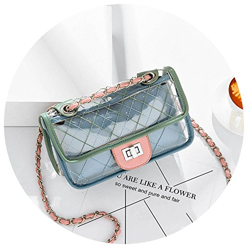 chain summer Blue female casual Fashion bag shoulder bag Jelly bag transparent 2018 Messenger plaid jelly Txw856wtq