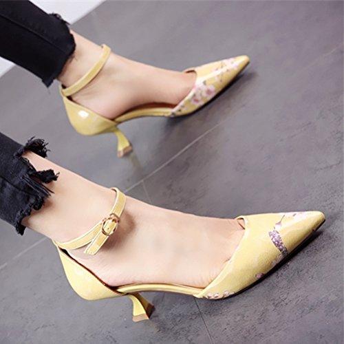 GTVERNH Fleurs Des Chaussures Pointues Seule Petite Bouche Mince Au Milieu De Talon Des Chaussures De Femme Creux Boucle Banquet 6 Cm De Chaussures À Talons Hauts. yellow UhfKrC1nMb