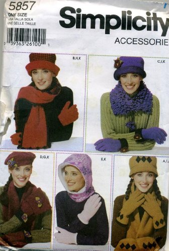 Simplicity Accessories Hood, Scarf, Hat and Glove Sewing Pattern # 5857 One Size