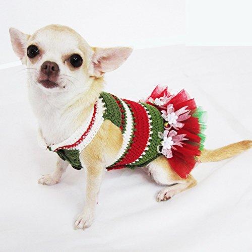 Christmas Dog Tutu Red Green White Pet Dress Handmade Crochet 9F (Dog Christmas Tutu)