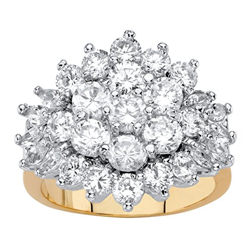 Palm Beach Jewelry 18k Gold-Plated Round and Marquise-Cut White Cubic Zirconia Cluster Cocktail Ring Size 8