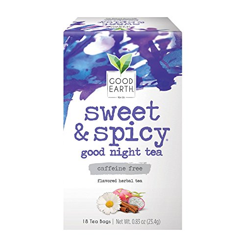 Good Earth Herbal Tea, Sweet & Spicy Good Night, Caffeine Free, 18 Count Tea Bags (Pack of 6) (Packaging May ()