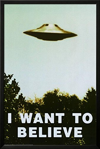 Believe Framed - The X-Files - I Want To Believe Print Lamina Framed Poster, 26x38 in, Black Frame