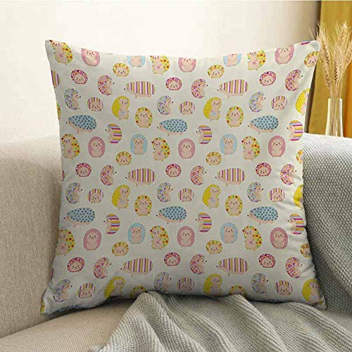 Hedgehog Bedding Soft Pillowcase Smiling Baby Characters with Dotted Floral and Striped Prints Kids Toddler Nursery Hypoallergenic Pillowcase W18 x L18 Inch Multicolor