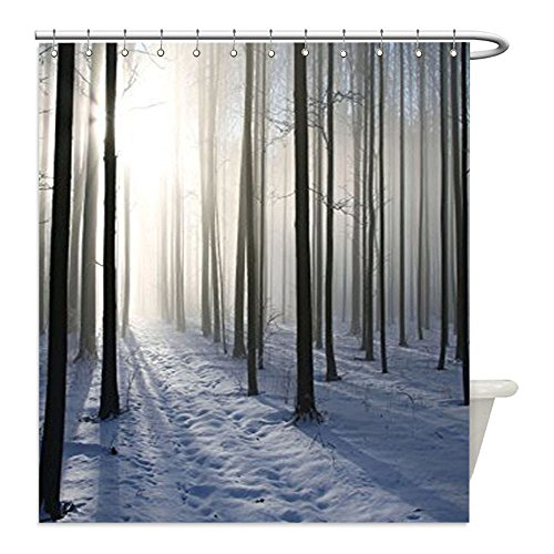 Covered Stall Chain (Liguo88 Custom Waterproof Bathroom Shower Curtain Polyester Farm House Decor Collection Thin Snow Covered Path in the Misty Winter Forest Backlit by the Morning Sun Picture White and Dark Brown Decor)