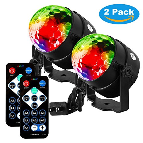 Disco Lights, Sound Activated Disco Ball Party Lights 7 Colors LED Strobe Lights Stage DJ Light with Remote Control for Home Dance Birthday Party Karaoke Bar Club Wedding Festival (2 Pack)