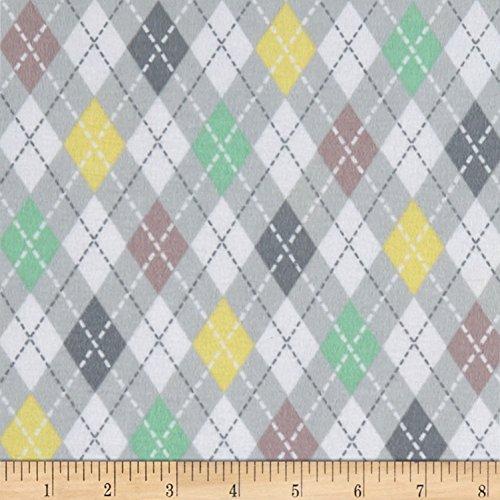Mook Fabrics Elephant/Mouse Flannel Argyle Fabric, Grey, Fabric By The Yard