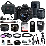 Canon EOS Rebel T6i Digital SLR with EF-S 18-55mm f/3.5-5.6 IS STM Kit Lens and Canon EF-S 55-250mm f/4-5.6 IS STM + Slave Flash + 58mm Wide Angle and Telephoto Lenses + 32GB Deluxe Accessory Bundle