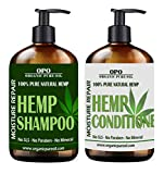 #9: Natural Hemp Extract Hydrating Sulfate Free Shampoo & Conditioner Set- Best for Curly or Frizzy Hair, Safe for Keratin Treated Hair 16 fl. oz /each