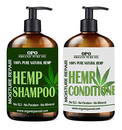 Natural Hemp Extract Hydrating Sulfate Free Shampoo & Conditioner Set- Best for Curly or Frizzy Hair, Safe for Keratin Treated Hair 16 fl. oz /each