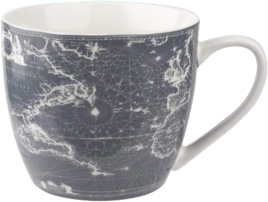 Image of a mug with Map print all over.
