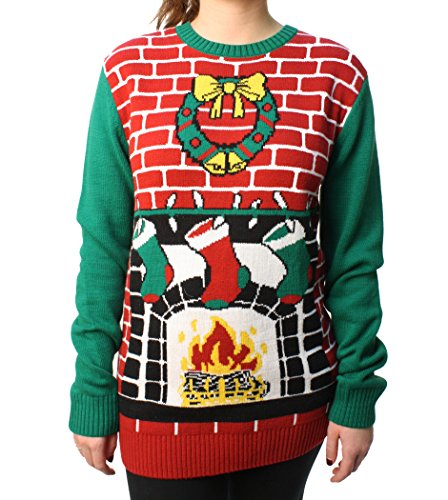 Ugly Christmas Sweater Loose Fit Women's Fireplace Pullover Sweater-Small Cayenne ()