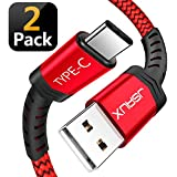 USB Type C Cable,JSAUX(2-Pack 6.6FT) USB A 2.0 to USB-C Fast Charger Nylon Braided USB C Cable Compatible Samsung Galaxy S9 S8 Plus Note 9 8,Moto Z Z2,LG V30 V20 G5,Google Pixel XL,USB C Devices(Red)