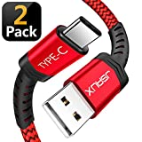 #9: USB Type C Cable,JSAUX(2-Pack 6.6FT) USB A 2.0 to USB-C Fast Charger Nylon Braided USB C Cable Compatible Samsung Galaxy S9 S8 Plus Note 9 8,Moto Z Z2,LG V30 V20 G5,Google Pixel XL,USB C Devices(Red)