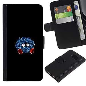 """A-type (Azul Pekemon"""") Colorida Impresión Funda Cuero Monedero Caja Bolsa Cubierta Caja Piel Card Slots Para Samsung Galaxy S6"""