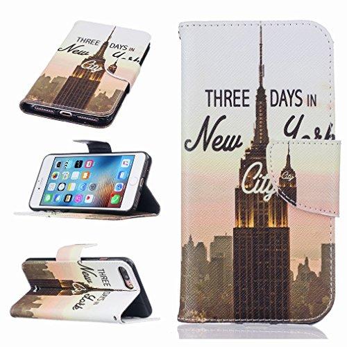 Custodia Apple iPhone 7 Pro Cover Case, Ougger Portafoglio PU Pelle Magnetico Stand Morbido Silicone Flip Bumper Protettivo Gomma Shell Borsa Custodie con Slot per Schede, Design 3