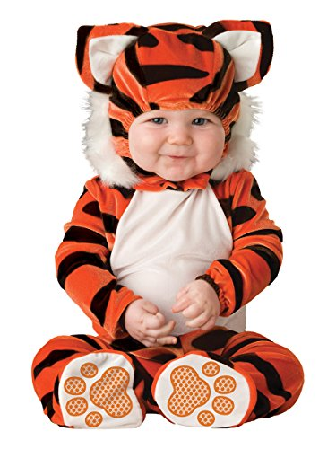 Lil Characters Unisex-baby Newborn Tiger Costume, Orange/Black/White, 6-12 -